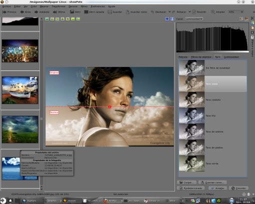 Showfoto editando y transformando una imagen